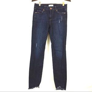 LOFT modern skinny distressed jeans raw chewed hem